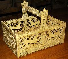 Russian basket, scroll saw fretwork pattern