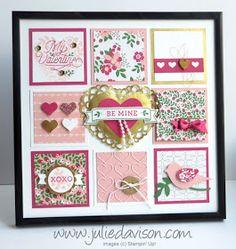 """Stampin' Up! Bloomin' Love Valentine 8"""" x 8"""" Sampler Framed Art Home Decor #valentine #stampinup www.juliedavison.com"""