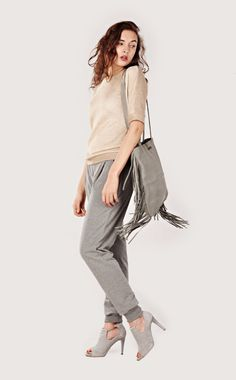Leather tote, Grey Suede Fringe Tote Bag, Fringe bag