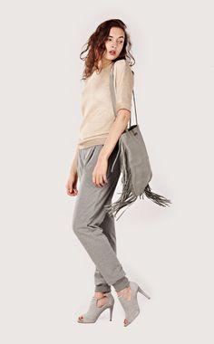 Leather tote, Grey Suede Fringe Tote Bag, Fringe bag