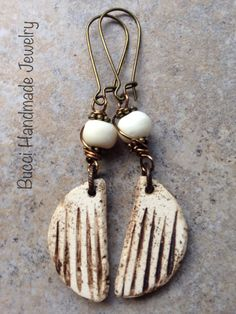 Half Creacent Moons with Bone cream rustic by BucciHandmadeJewelry
