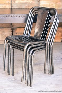 Fauteuil chaise ancienne en metal brut deco loft meuble - Chaise industrielle ancienne ...