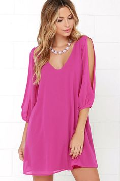 Lulus Exclusive! When it's time to shift your gears into glamor mode, the Shifting Dears Magenta Long Sleeve Dress is our most dearly beloved dress! Magenta Georgette forms a roomy shift silhouette with a deep, scoop neckline and a flared shape that flows into an asymmetrical, concave hemline. Long, sheer sleeves have on-trend, cold shoulder cutouts that open all the way to the cuffs.