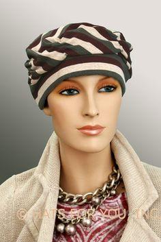 $19.50 - Stripes Shirred Cap     #cancer #chemo #alopecia #hair loss