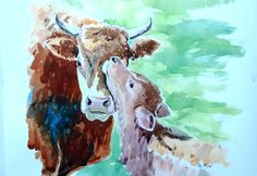 Water color art work is drawn to make my friend happy and console his grief because of his lovely cow, which was a member in his family passed away. Vital thing is he loved this art work so much.