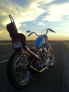 Panhead chopper headed west... Sweet nomad vroom