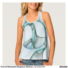 Fractal Minimalist Elegance, Abstract Art Tank Top