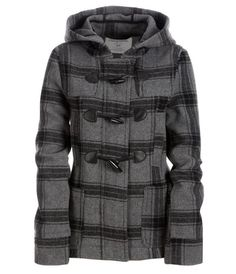 Womens Hooded Plaid Wool Pea Coat Outerwear: Clothing