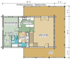 madison log home plan first floor