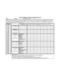 Functional behavior assessment forms examples invitation for Functional assessment observation form template