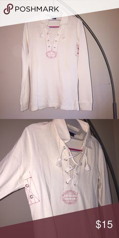 Ralph Lauren laceup rugby shirt polo small reduced Ralph Lauren Long sleeve lace up rugby shirt with side details. Size small. Feels new. Good weight. Off white but not quite cream. Ralph Lauren Tops Sweatshirts & Hoodies
