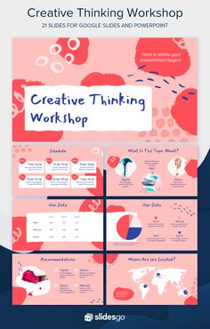 Give your creative thinking workshop a shot of inspiration with this artistic template that you can use as a theme for Google Slides and PowerPoint