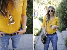 We love Emily's tomboy take on bright yellow with denim for summer!
