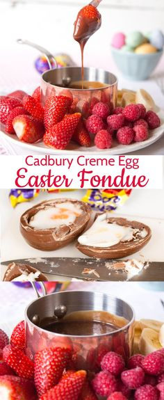Easter Fondue Cadbury Egg recipes are a delicious sweet Easter dessert. This simple Cadbury creme egg fondue is a lovely finish to your Easter dinner or as a fabulous way to use up leftover Cadbury creme eggs. Cadbury Creme Egg Recipes, Chocolate Recipes, Cadbury Chocolate, Cadbury Easter Eggs, Baking Recipes, Dessert Recipes, Fondue Recipes, Dip Recipes, Recipies