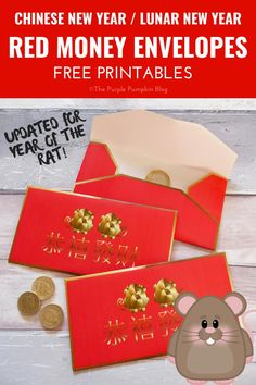 Free Printable Red Money Envelopes for Chinese New Year New Year Printables, Party Printables, Free Printables, New Year's Crafts, Crafts For Kids, Paper Crafts, Card Crafts, Chinese New Year Card, Purple Pumpkin
