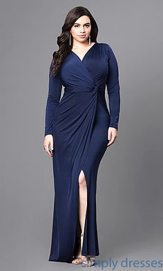 Shop cheap plus-size prom dresses at Simply Dresses. Long faux-wrap long-sleeve formal dresses under $100 with v-necklines and side slits.