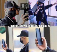 Jackson taking a photo of Youngjae XD   allkpop Meme Center
