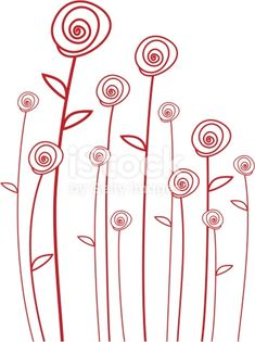 abstract red roses, vector background simple line drawings ( I could do something similar! Abstract Embroidery, Hand Embroidery Designs, Embroidery Stitches, Embroidery Patterns, Machine Embroidery, Simple Line Drawings, Vector Background, Red Background, Free Vector Art