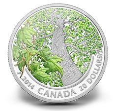 1 oz. Fine Silver Coin - Canadian Maple Canopy (Spring) - Mintage: 7,500 (2014)