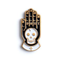 Antique gold, rubber clasp, secret little phrase on the back. It's a pin, it won't save your life. But it MIGHT make your jacket, hat,...