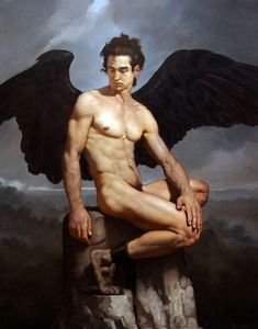 Paintings by Roberto Ferri Roberto Ferri (born is an Italian artist and painter from Taranto, Italy, who is deeply inspired by Baroque painters (Caravaggio in particular) and other old masters. Caravaggio, Male Angels, Angels And Demons, Italian Painters, Italian Artist, Dark Wings, Ange Demon, Demon Wings, Pierre Auguste Renoir