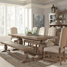 Farmhouse Dining Room Table, Dining Room Table Decor, Dining Room Design, Dining Room Furniture, Living Room Decor, Rustic Dining Rooms, Dining Room With Bench, Natural Wood Dining Table, Modern Farmhouse Table