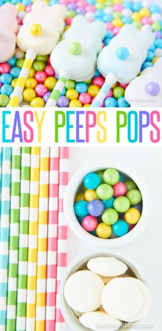 Easy Peeps Pops.  Love how pretty these are and they are beyond easy to make. Totally making these for Easter!  Could also use M&Ms for the tails.