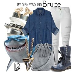 Bruce by leslieakay on Polyvore featuring Frame Denim, Steve Madden, Warehouse, Givenchy, Reagan Charleston, Ruby Feathers, disney, disneybound and disneycharacter