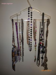 Easy way of organising necklaces.