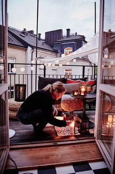 Illuminer une terrasse avec des bougies