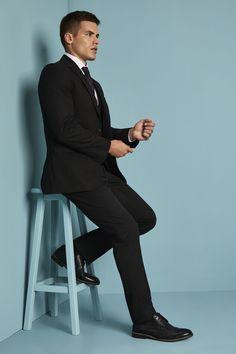 9250891aa607 Simon Jersey Men's Alderley Tailored Jacket and Trousers - Black Staff  Uniforms, Work Uniforms,