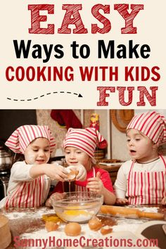 Great, easy tips to make cooking with kids fun. It's a great way to help picky eaters try new food. Kids Cooking Recipes, Cooking Classes For Kids, Fun Cooking, Kids Meals, Children Cooking, Preschool Cooking, Kid Recipes, Chores For Kids, Activities For Kids