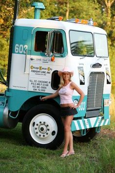Nothin better than a classic cabover and a girl