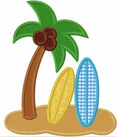 Instant Download Beach Surfboard Applique