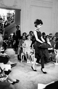 Audrey Hepburn at the Dior fashion show, 1959