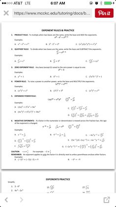 math worksheet : tons of worksheetspre algebra algebra and geometry algebra  : Rules Of Exponents Worksheet