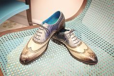 Dominique Saint Paul full brogues shoes, hand coloured crust leather in four colours with patina.