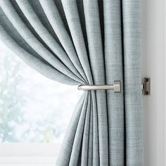 Sale ends soon. Shop CB Brushed Nickel Curtain Tiebacks, Set of Rounded J-shaped brackets hold back gracefully gathered curtains to let in light or show off the view. Black Curtain Tiebacks, Black Curtain Rods, Black Curtains, Modern Curtains, Drapes Curtains, Curtain Tiebacks Ideas, Bathroom Curtains, Curtain Pull Backs, Curtain Partition