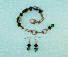 BRACELET-EARRINGS  SET-Beaded Wire And Chain Cuff Style Bracelet-Beaded Dangle Fish Hook Earrings-Green-Black-Copper-Glass-Lampwork-Metal by TheShabbyJean on Etsy https://www.etsy.com/listing/259485192/bracelet-earrings-set-beaded-wire-and