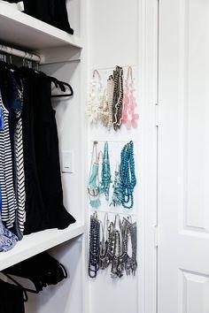 brighton keller new home closet reveal jewelry organization Wardrobe Closet, Closet Space, Jewellery Storage, Jewelry Organization, Brighton Keller, Indian Road, Pant Hangers, Custom Paint Jobs, Get Ready