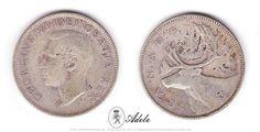 """1952 #SILVER #CANADIAN QUARTER 25c - Caribou Georgivs VI """"Dei Gratia Rex"""" LOW RELIEF http://etsy.me/1EgXqeY #Coins @Etsy"""