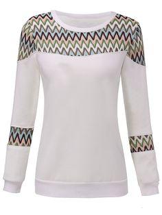 Sale 26% (14.69$) - Velvet Thick Geometric Patchwork Round Neck Women Pullover Sweatshirt