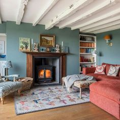 surrey-cottage-country-living-room-with-fireplace house tour