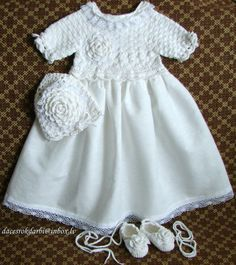 Linen christening gown baptism gown crochet christening by Dachuks, $69.00