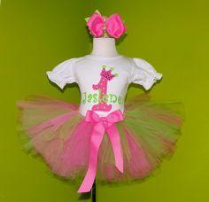 #MC Pink n Lime Green Tiara Crown Number Birthday Tutu Set by PoshBabyStore.com