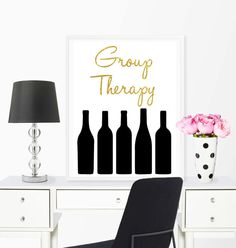Wine therapy print funny quote funny by GoldenSparrowsDesign