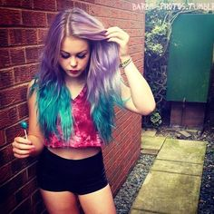 Purple & Turquoise Ombre Hair <3 Candy Pastel Style fashion