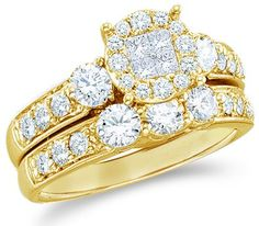 Your #1 Source for Jewelry and Accessories » Size – 6.5 – 14k Yellow Gold Diamond Ladies Womens Bridal Engagement Ring with Matching Wedding Band Two 2 Ring Set Invisible Solitaire Style Center Setting Three 3 Stone with Side Stones Channel Set Large Princess and Round Brilliant Cut Diamond Ring (1.47 cttw)