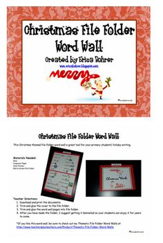 Christmas File Folder Word Wall with Pictures