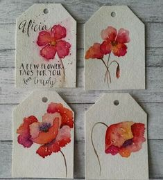 Watercolor Flowers, Gift Tags, Art by Trudy Tibbitts Roberts #watercolorarts